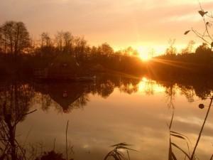 Coucher de soleil sur Cabane flottante